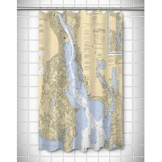 RI: Providence River, RI Nautical Chart Shower Curtain