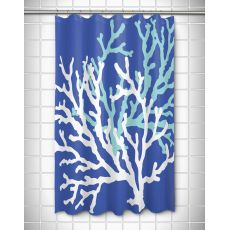 Coral Duo on Cobalt Shower Curtain
