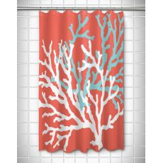 Coral Duo on Coral Shower Curtain