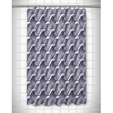 Wave Hello Navy Shower Curtain