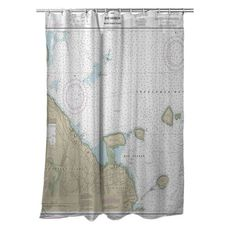 Bar Harbor, ME Nautical Chart Shower Curtain
