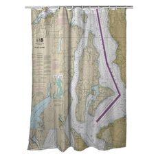 Vashon Island, Maury Island, WA Nautical Chart Shower Curtain