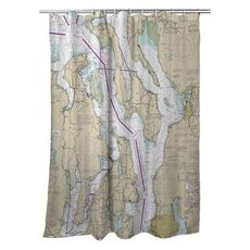 Puget Sound Northern, WA Nautical Chart Shower Curtain