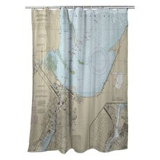 Green Bay, WI Nautical Chart Shower Curtain
