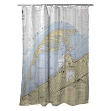 Erie Harbor, Presque Isle, PA Nautical Chart Shower Curtain