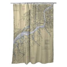 Delaware River, Philadelphia, PA & Camden, NJ Nautical Chart Shower Curtain