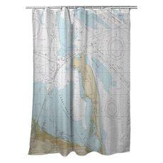 Sandy Hook, NJ Nautical Chart Shower Curtain