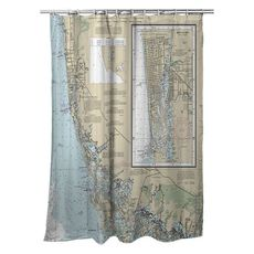 Naples, FL Nautical Chart Shower Curtain