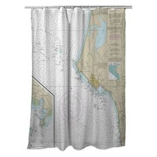 Crescent City, CA Nautical Chart Shower Curtain