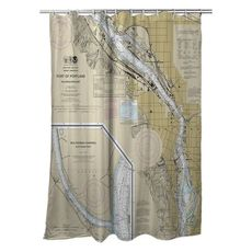 Portland, OR Nautical Chart Shower Curtain