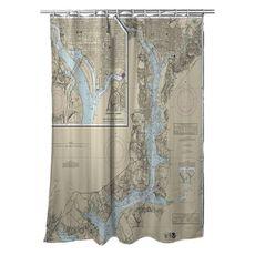 Washington Harbor, DC Nautical Chart Shower Curtain