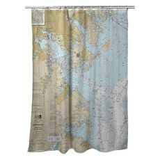 Approaches to Baltimore Harbor, MD Nautical Chart Shower Curtain