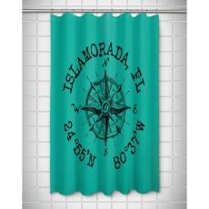 Custom Compass Rose Coordinates Shower Curtain - Aqua