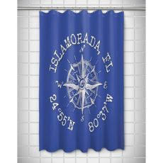 Custom Compass Rose Coordinates Shower Curtain - Blue