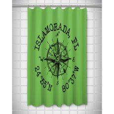 Custom Compass Rose Coordinates Shower Curtain - Light Green