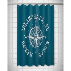 Custom Compass Rose Coordinates Shower Curtain - Turquoise