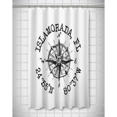 Custom Compass Rose Coordinates Shower Curtain - White
