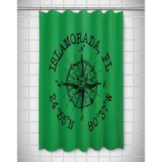 Custom Compass Rose Coordinates Shower Curtain - Green