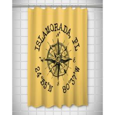 Custom Compass Rose Coordinates Shower Curtain - Yellow