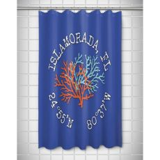 Custom Coral Duo Coordinates Shower Curtain - Blue