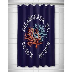 Custom Coral Duo Coordinates Shower Curtain - Navy
