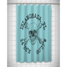 Custom Skull & Crossbones Coordinates Shower Curtain - Light Blue