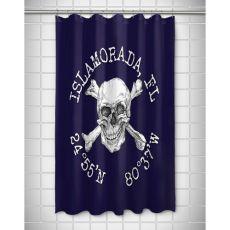 Custom Skull & Crossbones Coordinates Shower Curtain - Navy