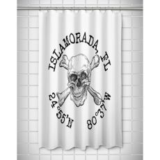 Custom Skull & Crossbones Coordinates Shower Curtain - White