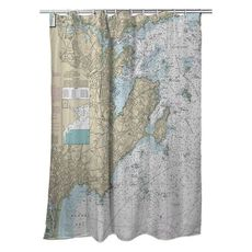 Marblehead, Salem, MA Nautical Chart Shower Curtain