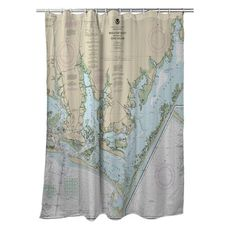 Beaufort Inlet, Core Sound, NC Nautical Chart Shower Curtain