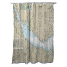 Neuse River (WEST), Upper Bay River, NC Nautical Chart Shower Curtain
