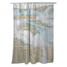 Cape Henry to Pamlico Sound, NC Nautical Chart Shower Curtain