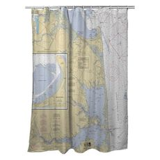 Cape Henlopen to Indian River Inlet, DE Nautical Chart Shower Curtain
