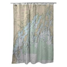 Casco Bay, ME Nautical Chart Shower Curtain
