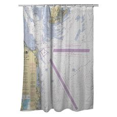 Cape May, NJ to Fenwick Island, DE Nautical Chart Shower Curtain