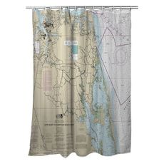 Cape Henry, VA to Currituck Beach Light, NC Nautical Chart Shower Curtain