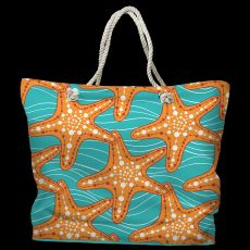 Starfish in Waves Tote Bag with Nautical Rope Handles