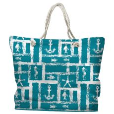 Ocean Squares Tote Bag with Nautical Rope Handles