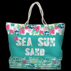 Sea Sun Sand Tote Bag with Nautical Rope Handles