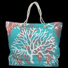 Nassau Coral Tote Bag with Nautical Rope Handles