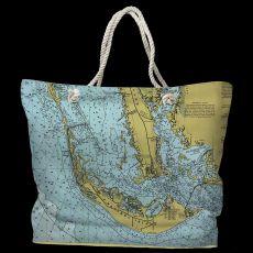 FL: Sanibel Island, FL Water-Repellent Nautical Chart Tote Bag