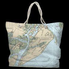 SC: Hilton Head Island, SC Water-Repellent Nautical Chart Tote Bag