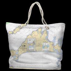 MA: Martha's Vineyard, MA Water-Repellent Nautical Chart Tote Bag