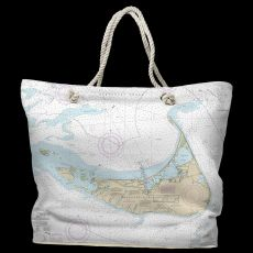 MA: Nantucket, MA Water-Repellent Nautical Chart Tote Bag