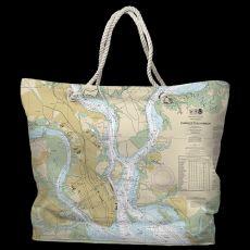 SC: Charleston, SC Water-Repellent Nautical Chart Tote Bag