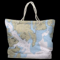 MD: Annapolis Harbor, MD Water-Repellent Nautical Chart Tote Bag