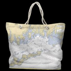 CT: Fishers Island Sound, CT Water-Repellent Nautical Chart Tote Bag