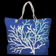 Coral Duo on Cobalt Tote Bag with Nautical Rope Handles