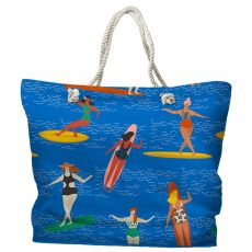 Surfer Girl - Surf Party Tote Bag with Nautical Rope Handles