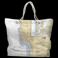 CA: San Diego, CA Water-Repellent Nautical Chart Tote Bag